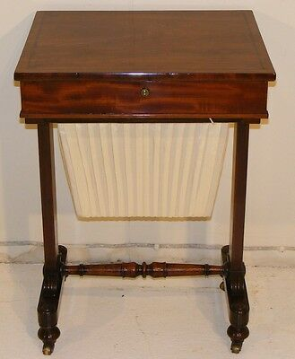 Good Quality Antique 19Th Century Mahogany Worktable With Re-Upholstered Basket