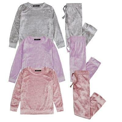 Girls Kids Pyjamas PJ Set Crushed Velvet Velour Soft Loungewear Sleep Nightwear