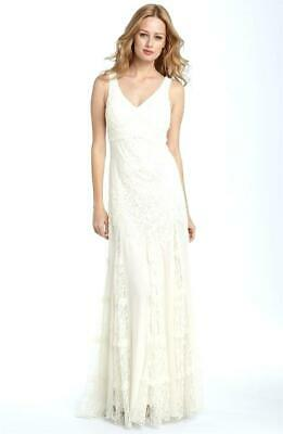 SUE WONG NOCTURNE Sz 4 SMALL, Ivory Beaded Lace Godet Retro Wedding Gown