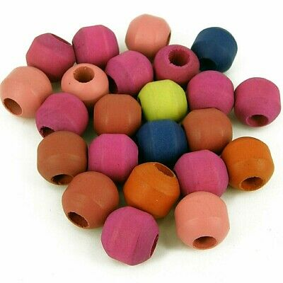 Macrame Focal Wooden Beads 30mm large hole 12mm  Pack of 23 Plain Mixed