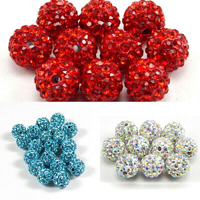 JN_ 20pcs Quality Czech Crystal Rhinestones Pave Clay Disco Ball Spacer Beads