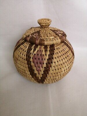 Wicker Wooden Weaved Bowl Storage Container with Lid 19cm Across