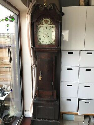 Antique Victorian Oak Grandfather Clock In Great Working Order