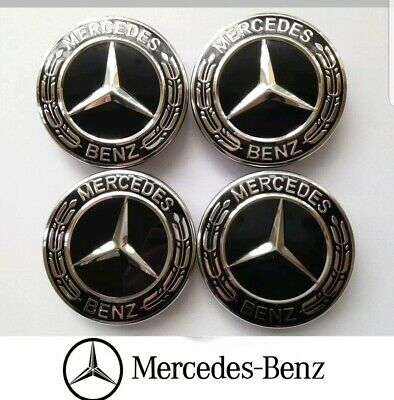 Mercedes Black Alloy Wheel Centre Hub Caps AMG A B C E S M Class ML CLA GLA SLK