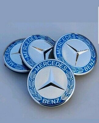 mercades benz  blue and chrome alloy wheel centre caps 75mm