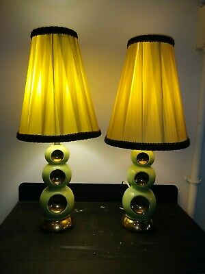RARE Vintage Art Deco Jadeite Green Ceramic Lamps ~ Possibly Occupied Japan