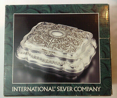 Silver Plated, Antique Finish Jewelry Box by International Silver Company 1997