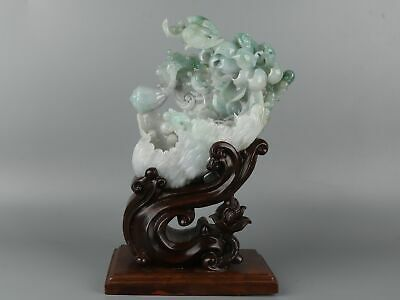 Chinese Exquisite Hand-carved lotus Crane Carving jadeite jade statue