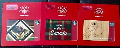 """STARBUCKS GIFT CARD SET OF 3 """"CANADA 150TH"""" NO VALUE 2017 Activated"""