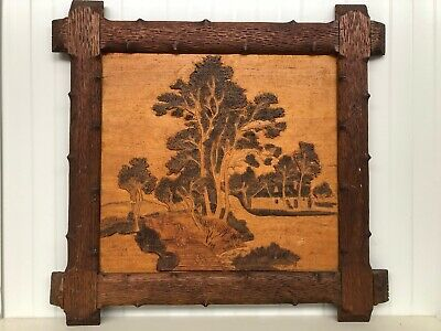 Beautiful Large Black Forest Style frame  with wood carving work