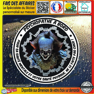 Sticker Autocollant psychopathe à bord ça clown Pennywise evil Horreur decal