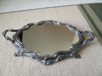 HEAVY ANTIQUE SILVER-PLATED DEPOSE, FRANCE Mirrored Boudoir Vanity Plateau Tray