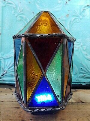 Antique Stained glass Iowa Catholic Church Light Fixture Cover Lantern Flawed
