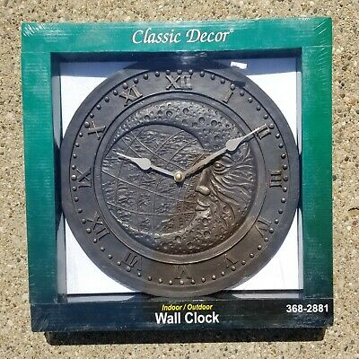 Indoor outdoor Wall Clock Antique Bronze Finish Moon face design k7