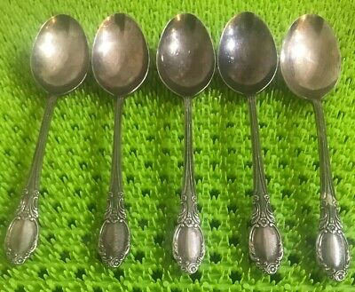 5 Oneida PARK LANE -  CHATELAIN- DOWRY Oval Soup Spoons Silverplate 1957 Rogers