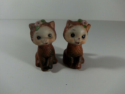 Vintage Brown Kitten with Pink Flower Salt and Pepper Shakers Korea