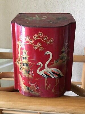 Barret Ware Vintage Red Asian Theme Tea Tin with hinged lid Made in England