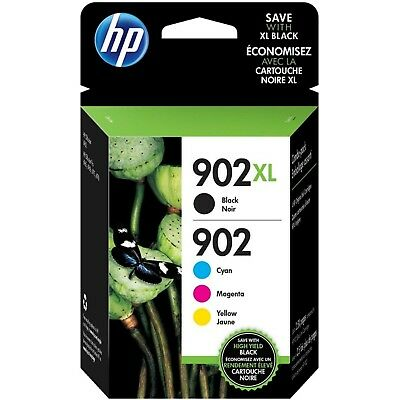 4-PACK HP GENUINE 902XL Black & 902 Color Ink (RETAIL BOX) OFFICEJET Ex 2021