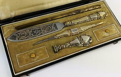 FINE FRENCH ANTIQUE SILVER GILT CALLIGRAPHY SET c1880 SEAL LETTER OPENER