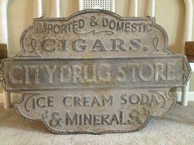 """City Drug Store Flange Sign Country Ad 13.2/""""x20/"""" Metal Cut Out Reproduction"""