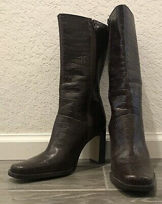 """White Mt. """"Turner"""" Chocolate Brown Leather Heeled Calf Boots Size 7.5 Snake Skin"""