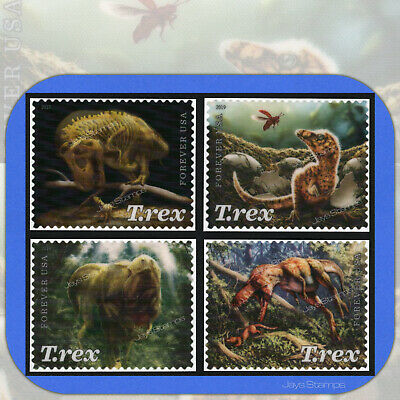2019  TYRANNOSAURUS REX  T-Rex USPS Forever® Complete Set of 4 Individual Stamps