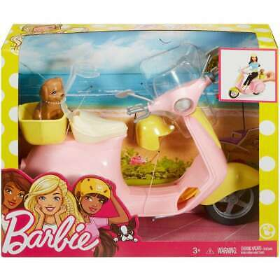 Pink and Yellow Scooter Moped with Puppy and Helmet
