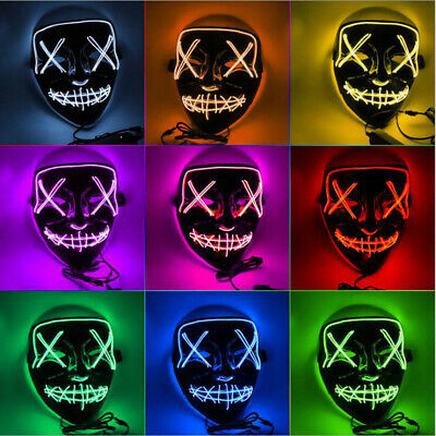 Halloween LED Glowing Full Mask 3 Mode EL Wire Light Up Cosplay Costume Party US