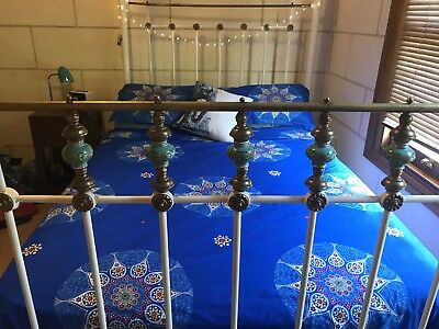 Antique Cast Iron, Brass & Porcelain Double Bed