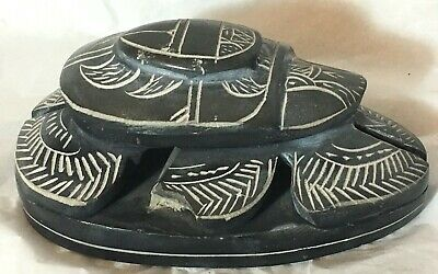 """Large 5"""" Egyptian Hand Carved Stone SCARAB Beetle with Hieroglyphics"""
