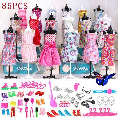 85Pcs Items For Barbie Dolls Dresses Shoes Jewellery Clothes Set Christmas Gifts