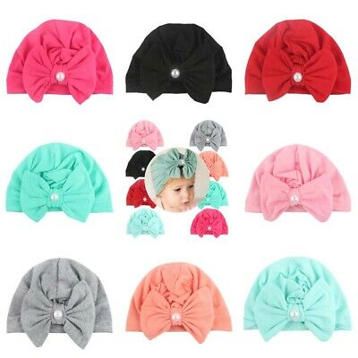 Cotton Cap Toddler Baby Girls Newborn Pearl Bow Knot Beanie Hat Turban Head Wrap