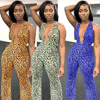 Women Deep V Neck Sexy Backless Bandage Leopard Long Bell-Bottom Jumpsuits Club