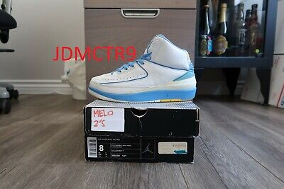 best sneakers c39f8 b2d99 NIKE AIR JORDAN Retro 2 Melo White University Blue Carmelo Size 8