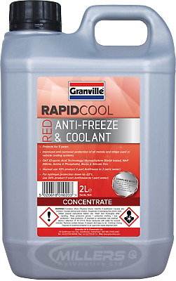 Granville Rapid Cool Red / Pink Anti Freeze & Coolant Concentrate 2L