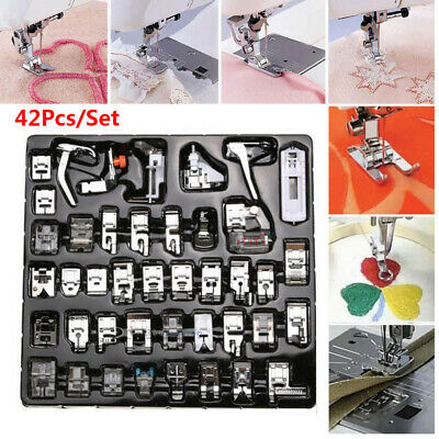 42Pcs Domestic Sewing Machine Presser Foot Snap On For Brother Singer Set Kit