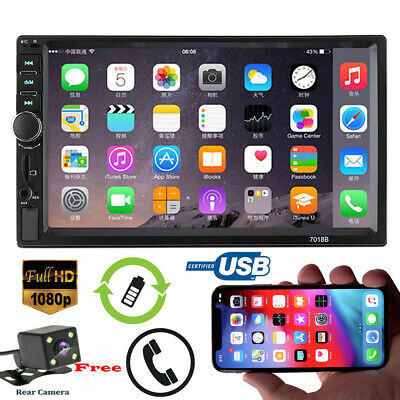 """7"""" 2 DIN Car FM Stereo Radio MP5 Player Touch Screen Bluetooth + Rearview Camera"""