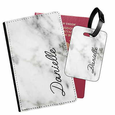 Personalised Marble PU Leather Passport Holder Travel Wallet & Luggage Tag - 10
