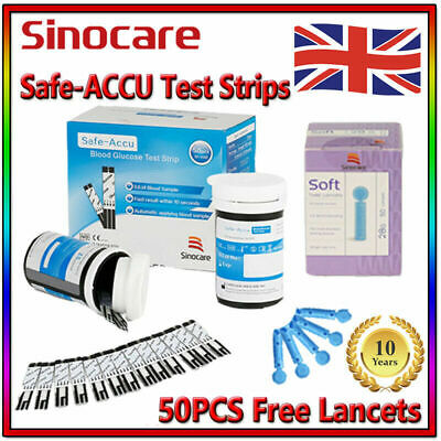 50PCS Sinocare Diabetic Blood Sugar Monitoring Strips Free Lancets For Safe-ACCU