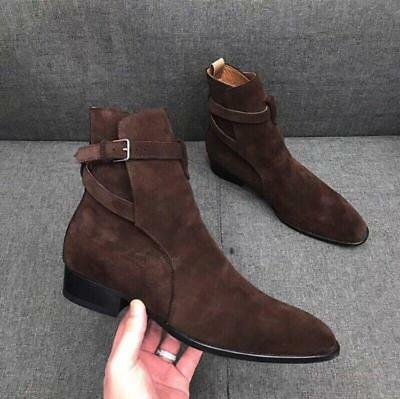 Mens Leather Ankle Boots Hand Made Chelsea High Top Buckle Shoes Retro Solid N01