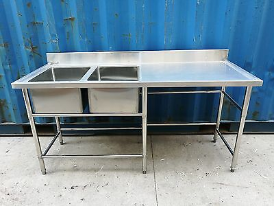 Brand New Commercial Stainless Steel Double Sink 180x60x90 cm