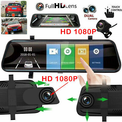 10'' HD 1080P Dual Lens Car DVR Rearview Mirror Dash Cam Recorder + Rear Camera