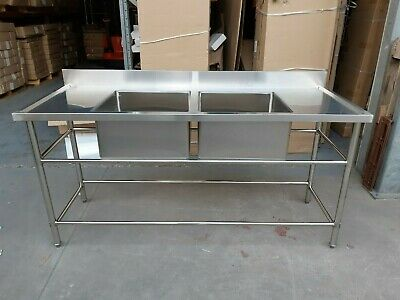 Brand New Commercial Stainless Steel Double Sink in middle 1800x700x900 mm