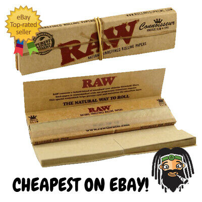 RAW Connoisseur King Size Slim Organic Unbleached Rolling Papers w/ Roach Tips