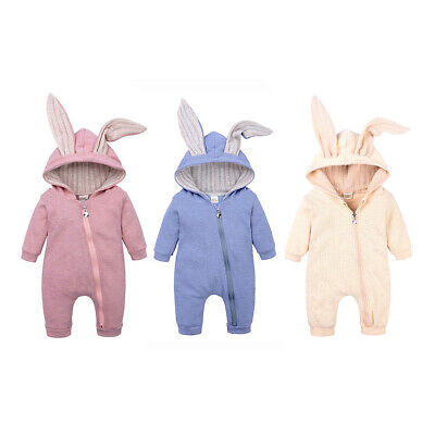 Cute Rabbit Ears Romper Jumpsuit Outfits Clothes Baby Boys Girls Infant