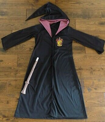 Harry Potter Gryffindor Halloween Costume Black Robe and Wand Rubie's Size Med