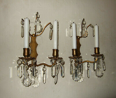 PAIR Antique French  gilt bronze, crystal drops  2 branch wall candle sconces