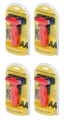 4X AA Emergency Hammer - Smashes Glass With Seat Belt Cutter