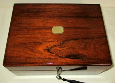 HANDSOME USEFUL VICTORIAN ROSEWOOD & MOTHER OF PEARL BOX with key