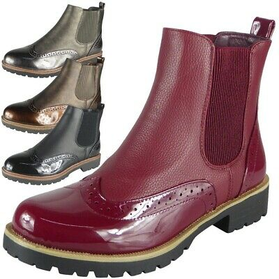 Womens Ankle Boots Ladies Chelsea Brogue Slip On Fashion Shoes Casual Comfy Size